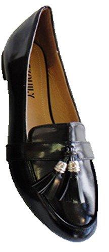 Chaussure Mocassin Talon plat Femme Vernis Pompon Glands Pierre-cedric ! Noir