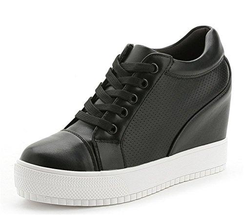 Wealsex Baskets Compensées Femme PU Cuir Mesh Dentelle Sneaker Chaussures de Tennis Noir