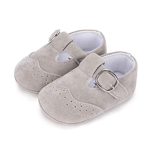 LACOFIA Zapatillas Antideslizantes para bebé niño Zapato Primeros Pasos de Cuero Suave de PU para bebé Gris 12-18 Meses