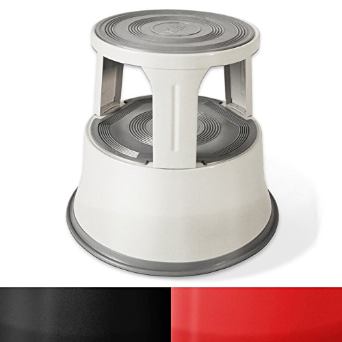 Rollhocker  Arbeitshocker | Metall | TÜV- und GS-geprüft | Elefantenfuß | Tritthocker mit Rollen | 3 Farben (Hellgrau)