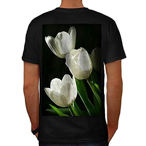 Weiß Tulp Kunst Natur Blume Schönheit Herren M T-shirt Zurück | Wellcoda