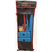 Juego de críquet deportivo asequible con murciélago, bola de viento, tocones, balas y bolsa, tamaño 5 (azul/amarillo)