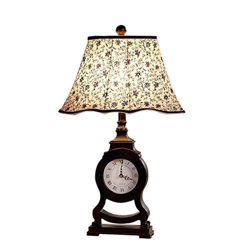 C&S Kreative Harz Uhr Tischlampe Klassische Schlafzimmer Nachttischlampe Beleuchtung Schreibtischlampe Muster Tuch Kunst Lampenschirm Pastoralen Stil