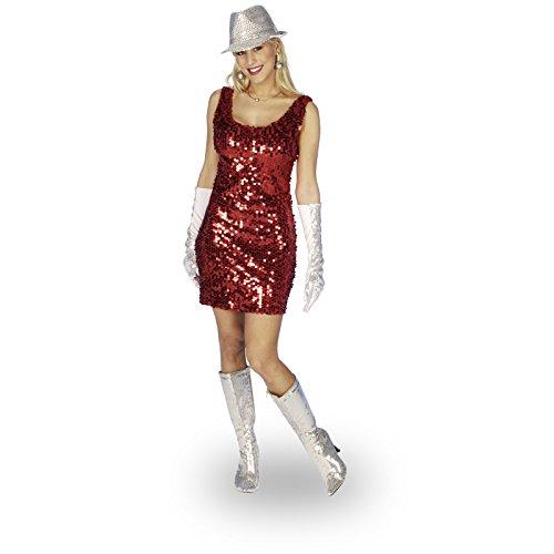 Partykleid mit roten Pailletten für Disco und Fasching - (Erwachsene Pailletten Shirt Kostüme)
