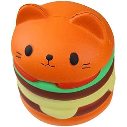 munecos dia madre kawaii Squishy Hamburguesa de Gato de Dibujos animados Perfumado Slow Rising Stress Reliever Toy Juguete de Alivio del Estrés para Niñas Niños Adultos LMMVP (9.5*8.5cm, A)