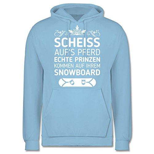 Wintersport - Scheiß aufs Pferd echte Prinzen kommen auf ihrem Snowboard - Herren Hoodie Hellblau