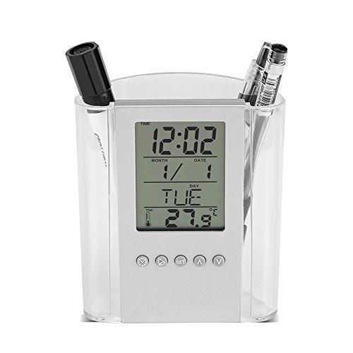 Dewin Reloj de Pluma - Multifuncional Lápiz de lápiz Escritorio Digital Despertador, Calendario, Temperatura...