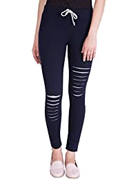[Sponsored Products]American-Elm Women's Navy Blue Cotton Designer Track Pants