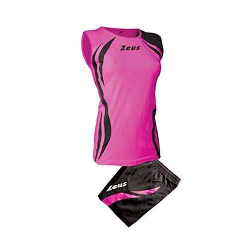 Zeus Damen Volleyball Trikot Hose Shirt Indoor Handball Training Ausbildung KIT KLIMA FUCHSIE SCHWARZ (S)