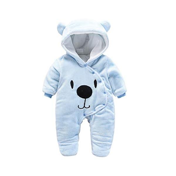 Runuo Mameluco del bebé recién Nacido,Mono de Invierno de bebé con Pijama con Capucha Trajes Infantiles 1