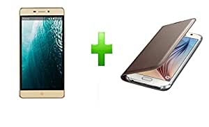 SmartLike COMBO PACK For LYF Water 7 (LYF LS-5504) GOLD PREMIUM Leather Flip Cover+SmartLike Tempered Glass for LYF Water 7 (LYF LS-5504)