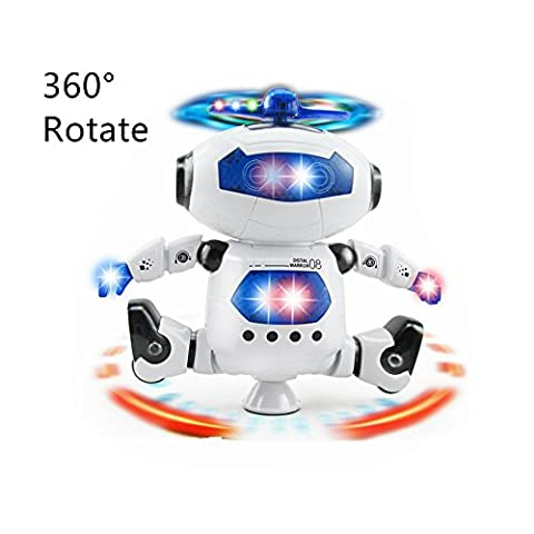 INvench Kids Robot Toys 360 Degree Rotation Walk Dancing Robot Toddlers Electronic Smart Space Astronaut Robot with Music&Light Eduational Toys for Children