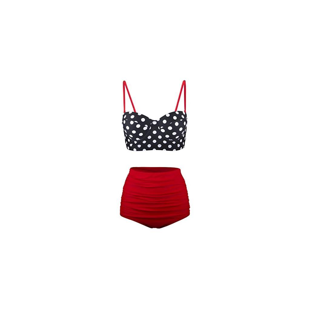 Angerella Donna Retro Vintage Underwire A Vita Alta Costumi da Bagno Bikini Set