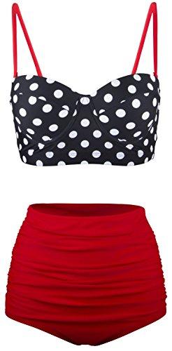 Angerella Damen Retro Stil Polka-Punkt mit hoher Taille Badeanzug Bikini Set(BKI031-R1-2XL) (Bademode Bikini)
