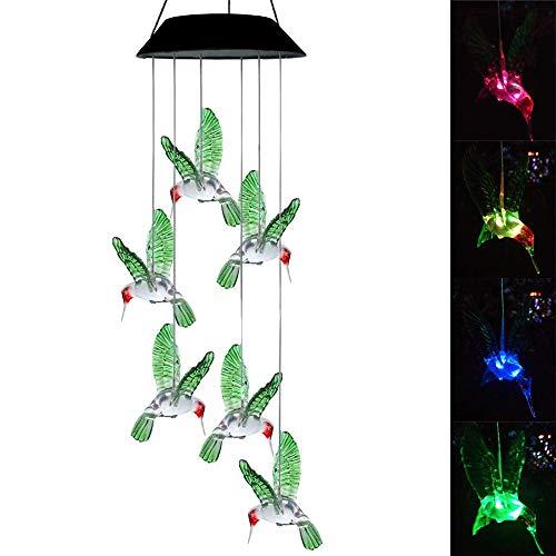 LARRY SHELL Solarbetriebene Windspiel, Mobile Windspiel LED Nachtlicht Hängeleuchten Farbwechsel Wind Spinner Wasserdicht, für Home Party Night Garden Dekoration
