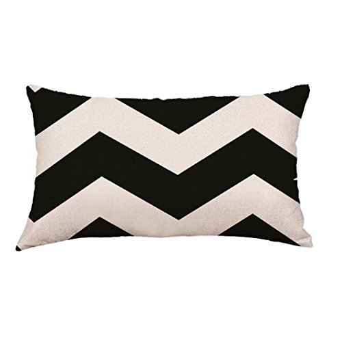 30cmx50cm Throw Pillow Case Sofa Home Decor Hirolan Geometry Painting Linen Cushion Cover (G, 30cmx50cm) (Waschen Eli)