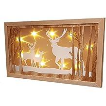 LED Weihnachtsdeko Hirschfamilie   45x26 Cm   Holz Fensterdeko Beleuchtet  Mit Hologramm Effekt