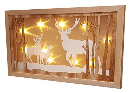 LED Weihnachtsdeko Hirschfamilie - 45x26 cm - Holz Fensterdeko beleuchtet mit Hologramm Effekt