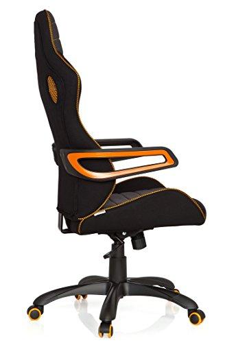 41qH5JoO GL - hjh OFFICE 621850 RACER PRO IV - Silla gaming y oficina, tejido negro/gris/naranja