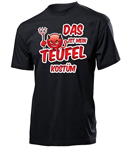 Teufel Kostüm Herren T-Shirt Teufelskostüm Männer 4469 Karneval Fasching Faschingskostüm Karnevalskostüm Paarkostüm Gruppenkostüm Schwarz ()
