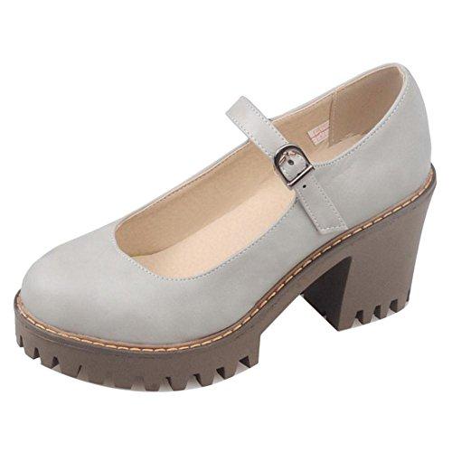 COOLCEPT Damen Mode Chunky Heel Pumps Schuhe Gray