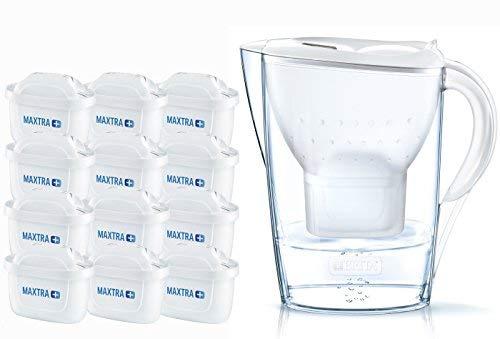 Brita Marella Jarra de Agua filtrada con 12 Cartuchos MAXTRA+, Filtro de Color Blanco Que Reduce la Cal y el Cloro, 2.4 litros 4 Unidades