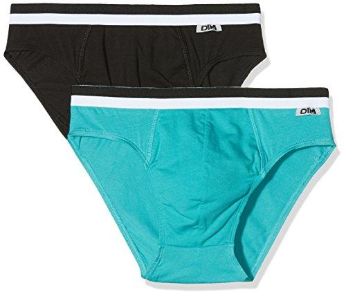 Unno DIM Basic Herren Slip, 2er Pack mehrfarbig (schwarz/hellblau)