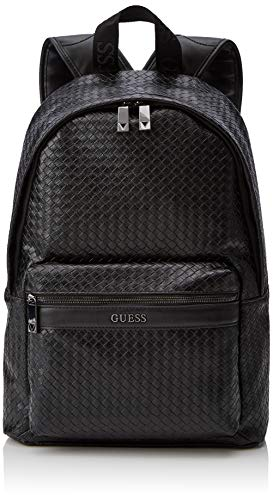 Guess Herren New Milano Backpack Rucksack, Blau (BLACK BLA), 31x42x12 cm