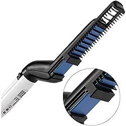 Brosse Lissante Ionisante Chauffante, Coiffure Rapide Homme, Men's Hair Styler, Peigne Electrique A Lisser Cheveux, Lisseur Anti-brûlure, Peigne de Massage Anti-statique EU Prise