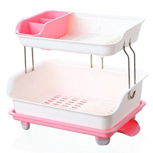 Modische doppelstöckige Kunststoff Küche Schrank Stäbchen Geschirr Aufbewahrungsbox, mehrschichtige Ablauf Rack Gerichte Regalen 2 - 2 Regal-schrank Mahagoni