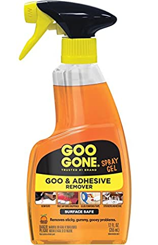 Goo Gone Original Spray Gel - Removes Chewing Gum, Grease, Tar, Stickers, Labels, Tape Residue, Oil, Blood, Lipstick, Mascara, Shoe polish, Crayon, etc. - 12 fl.