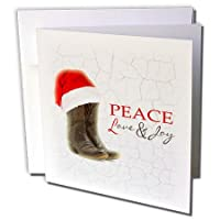 "3dRose gc_172141_2 6 x 6-Inch""Rustic Cowboy Boots and Santa Hat Peace/Love and Joy"" Greeting Card"