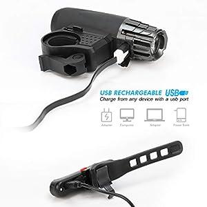 OUSPT Luces Bicicleta Delantera y Trasera, Linterna Bicicleta Recargable USB con 5 Modes IP65 Faro Delantero Superbrillante para Carretera y Montaña - Seguridad para La Noche (Negra)