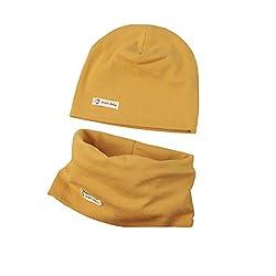 Boomly Baby Strickmütze+ Loop Schal Set Baumwollmütze Weich Kinder Mode Beanie Mütze Nackenwärmer Halsbänder Halstuch Herbst Winter (Gelb, 4-6 Jahre altes)