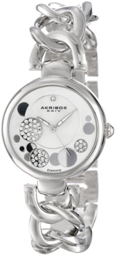 Akribos XXIV Women's Diamond Crystal Watch with Silver Dial Analogue Display and Silver Twist Chain Link Bracelet AK678SS