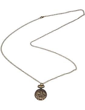 SODIAL(R) Bronze 3 Pferd Gravur Quarz Taschenuhr Halskette