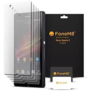 FoneM8® - Sony Xperia Z Screen Protector (5 Pack) Retail Packed Includes Microfibre Cleaning Cloth And Application Card