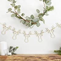 Ginger Ray Christmas Wooden Festive Stag Head Bunting Garland Decoration - Rustic Christmas
