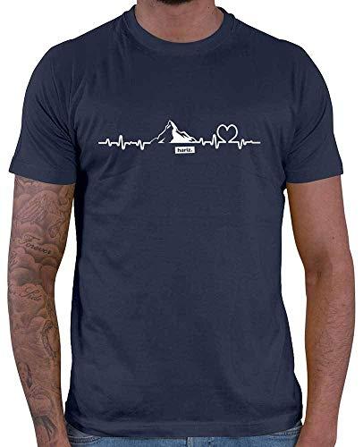 HARIZ Herren T-Shirt Snowboard Freestyle Winter Berge Mountain Plus Geschenkkarten Navy Blau XL