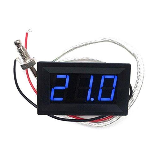 SO-buts LED-Temperaturfühler DC12V Thermoelement K Typ -30~800 ° C Hochtemperatur-Digitalthermometer (SchwarzB) -