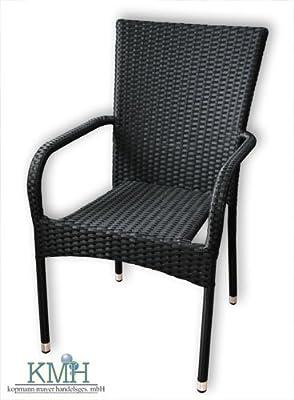 KMH®, Stapelstuhl Gartenstuhl aus Polyrattan (schwarz) (#106031)