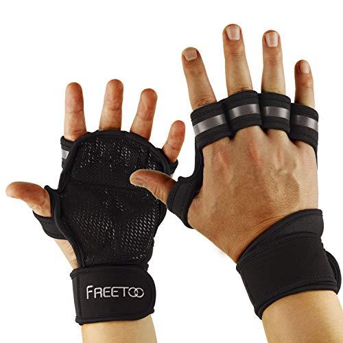 FREETOO Gants Musculation Gant Sport Hommes Coussinets en EVA Protection des Paumes de Main Respirants et Antidérapants pour Haltérophilie Haltère Traction et tous les Pratiquants de Fitness 2 Pcs (L)