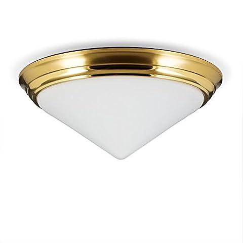 Helios Leuchten 146601 Deckenleuchte Deckenlampe Lampe Leuchte Bauhaus, echt Messing, geeignet für LED