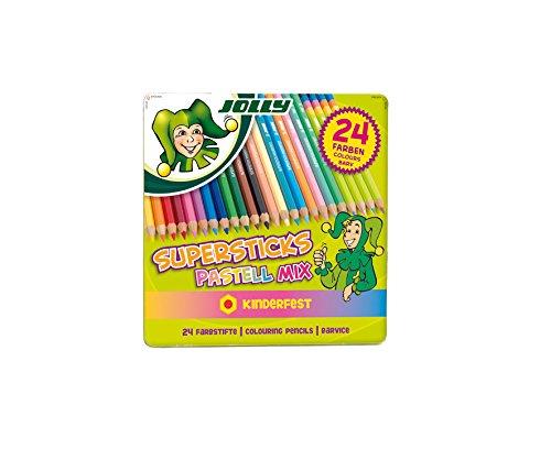 JOLLY 3000-0482 - Supersticks Classic, Pastellmix, Lernmaterialien, 24er set
