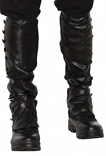 Schwarze Steampunk Gamaschen in Leder-Optik Stiefelstulpen mit Gummi (Fluch Der Karibik-stiefel)