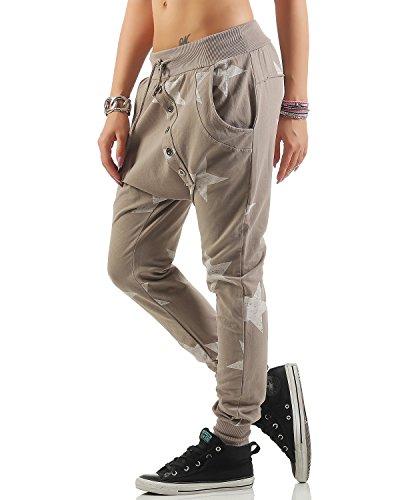 ZARMEXX Pantaloni boyfriend Big Star con bottoni Pantaloni da jogging Pantaloni da fitness da donna Taglia unica Cappuccino