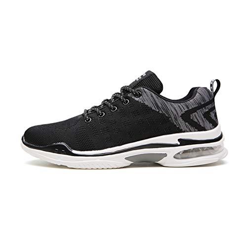 tqgold Uomo Donna Scarpe da Ginnastica Corsa Sportive Fitness Running Sneakers Basse Interior Casual all'Aperto(Nero Grigio,42 EU)