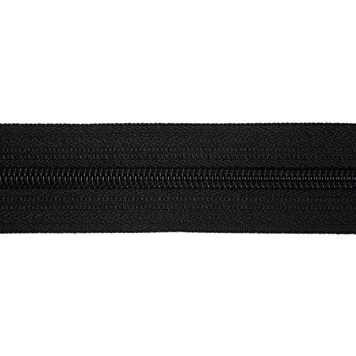 Jajasio Endlosreissverschluss 3mm, 5meter, mit 10 Nonlock Zipper, endlos reissverschluss, Auswahl aus 40 Farben / Farbe: 89 - schwarz