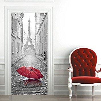 AmazingWall 77x 200cm/77x 199,9cm 3D Paris Eiffelturm Holz Türen Frischen Selbstklebende Deko Wasserdicht Wand Aufkleber 1Stück/Set Eiffelturm - Paris-wand-aufkleber
