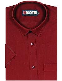 Helg Mens Formal Linen Plain Solid Half Sleeves Comfort Fit Shirt